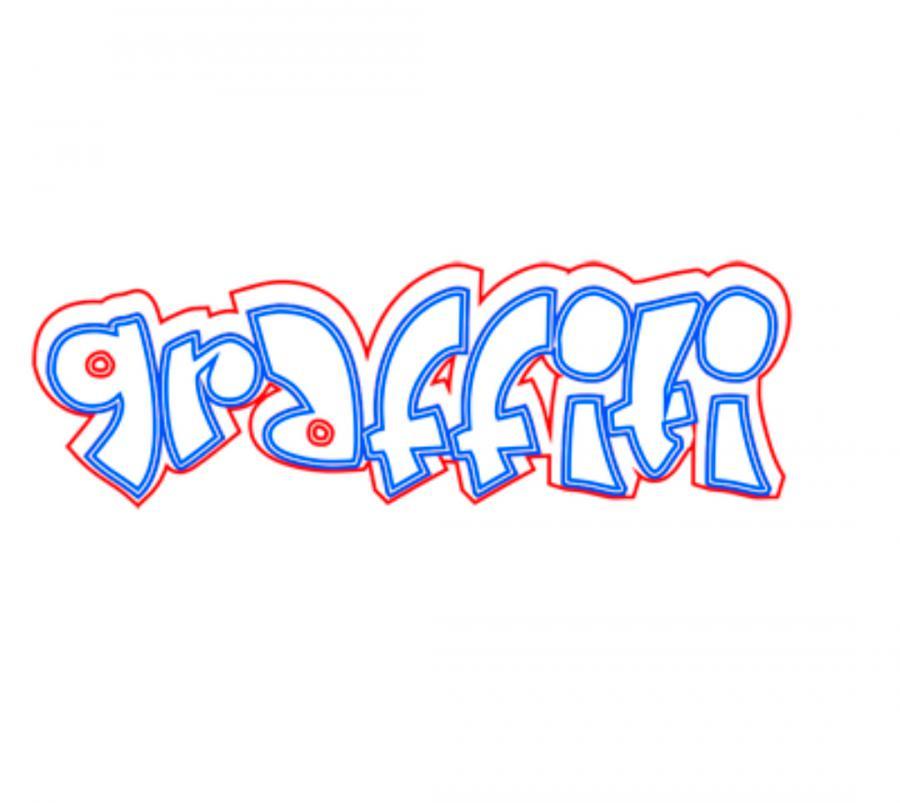 Рисуем слово graffiti  на бумаге