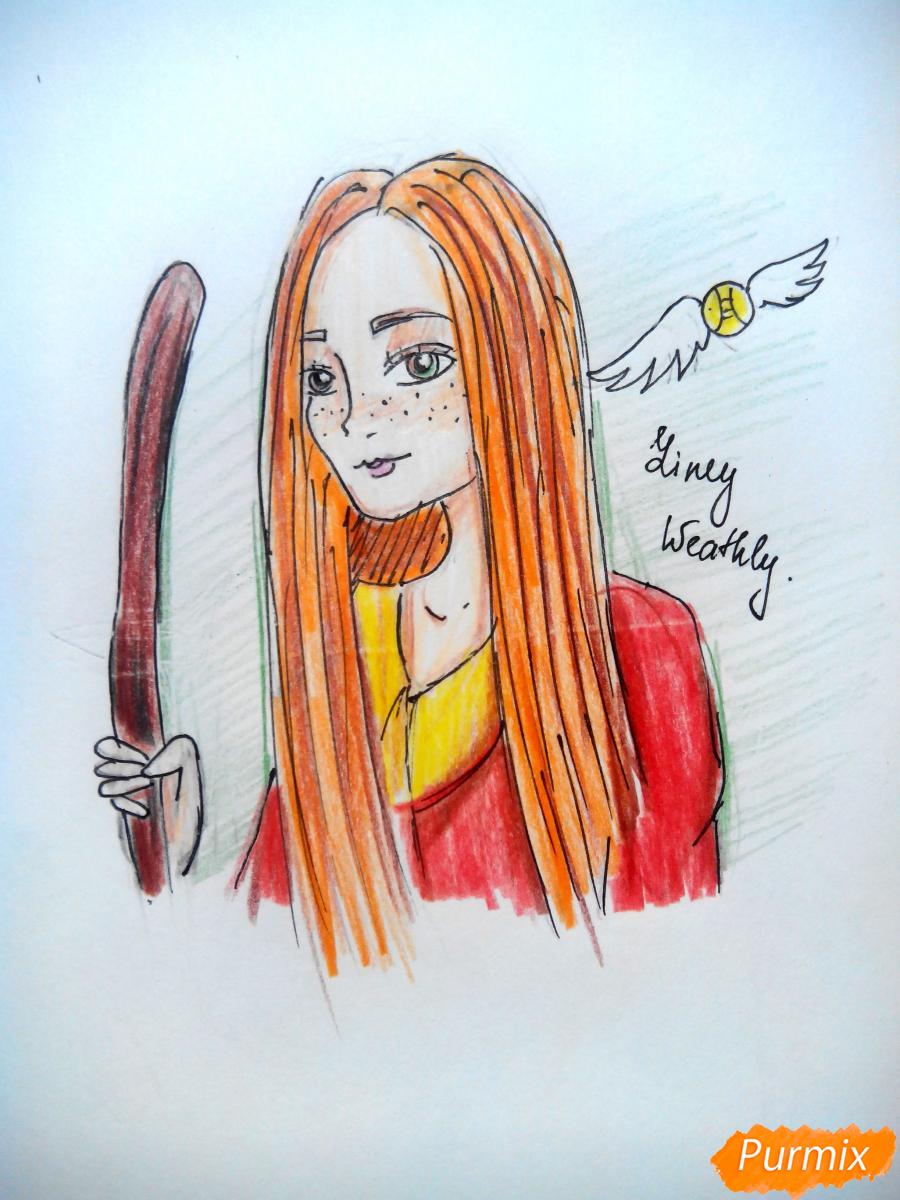 Как нарисовать Джинни Уизли из Гарри Поттера карандашом поэтапно