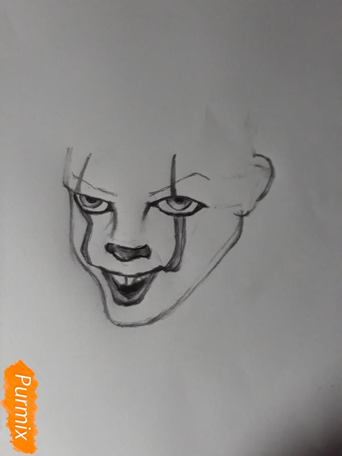 Рисуем Пенивайза из фильма Оно карандашами - шаг 3