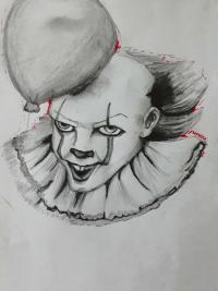 Фото клоуна Пенивайза из фильма Оно карандашами