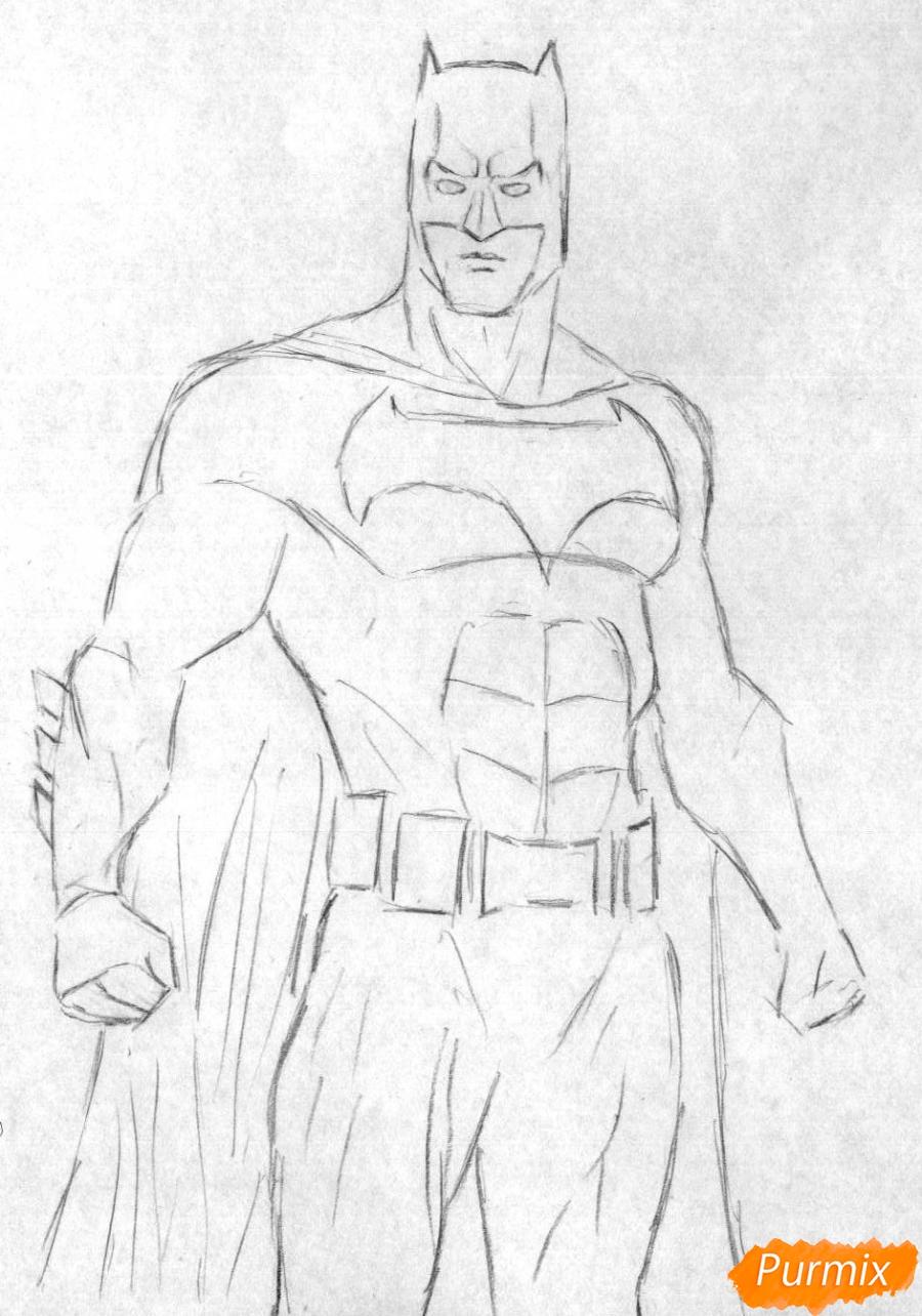 Рисуем Бэтмена из фильма Бэтмен против Супермена - шаг 1