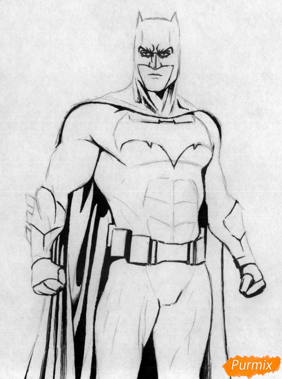 Рисуем Бэтмена из фильма Бэтмен против Супермена - шаг 2