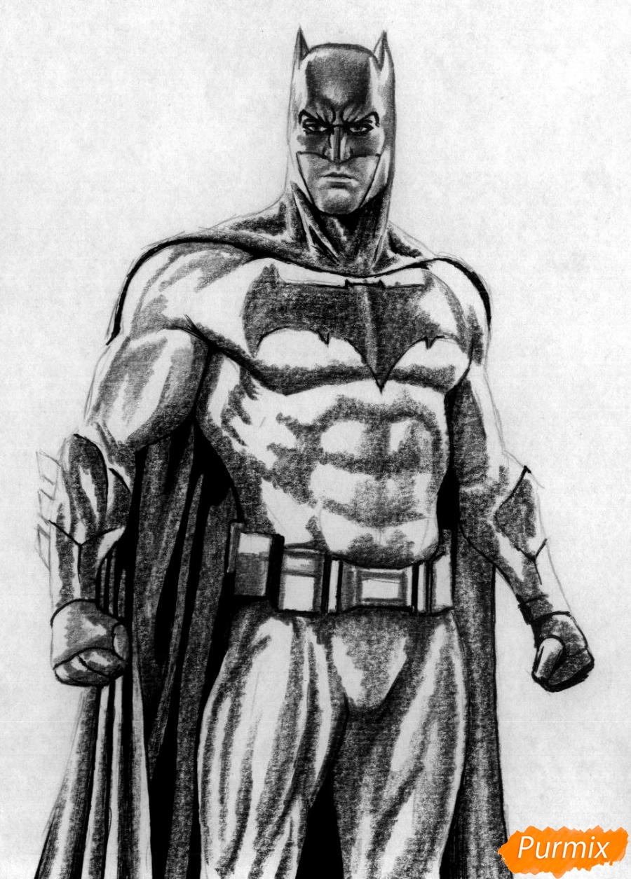 Рисуем Бэтмена из фильма Бэтмен против Супермена - шаг 3