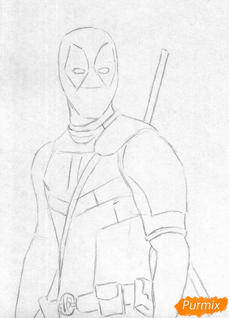 Рисуем Дэдпула простыми карандашами и чёрной ручкой - шаг 1