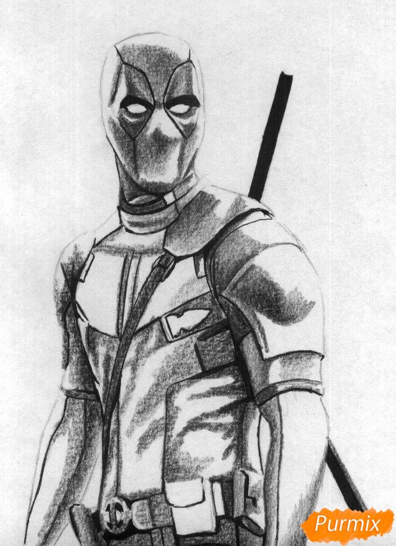 Рисуем Дэдпула простыми карандашами и чёрной ручкой - шаг 3