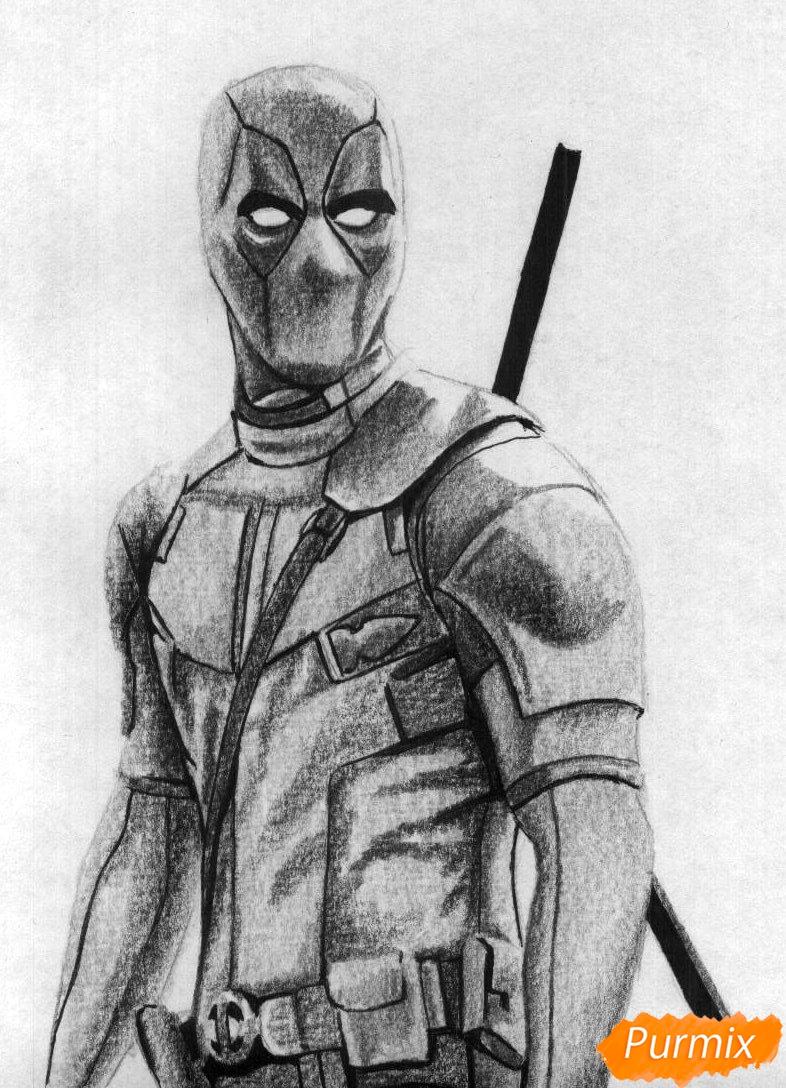 Рисуем Дэдпула простыми карандашами и чёрной ручкой - шаг 4
