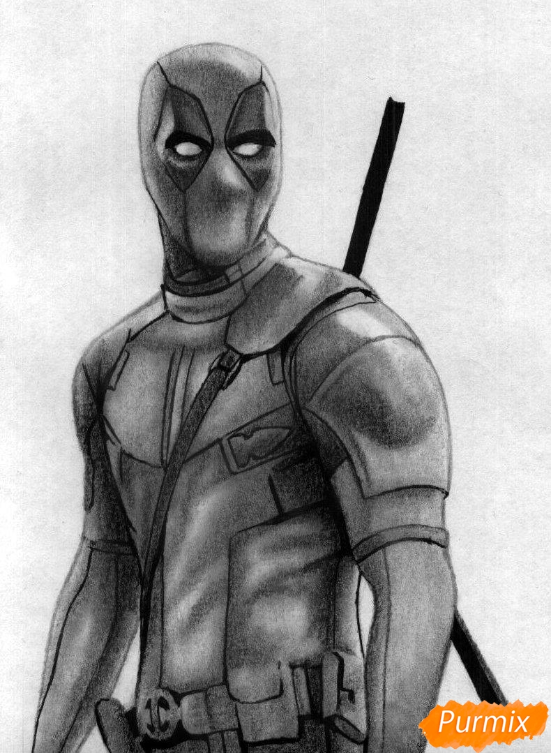 Как нарисовать Дэдпула простыми карандашами и чёрной ручкой поэтапно