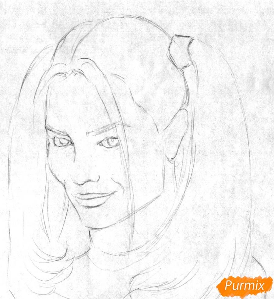 Как рисовать Харли Квинн из фильма Отряд самоубийц карандашами и ручкой - шаг 1