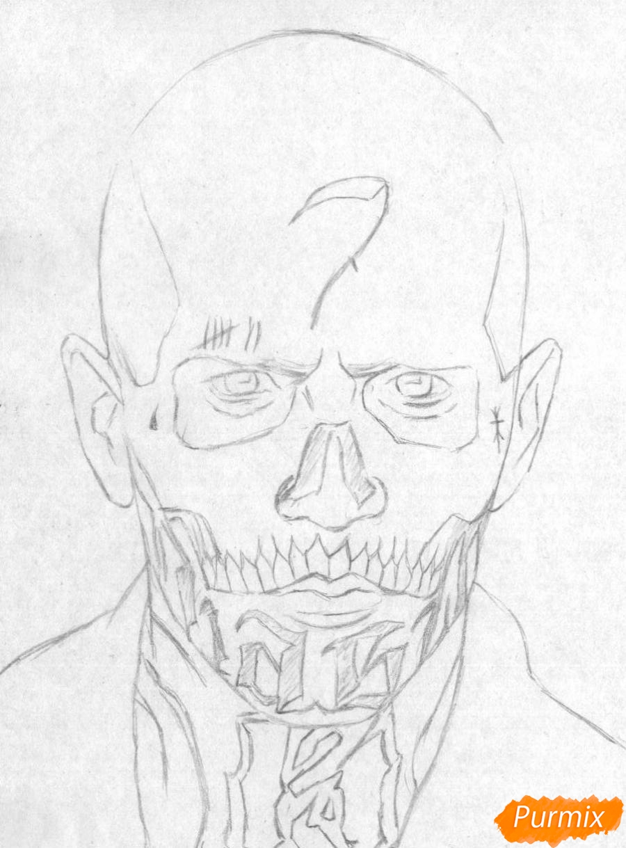 Рисуем Эль Диабло из фильма Отряд самоубийц  и ручкой - шаг 1