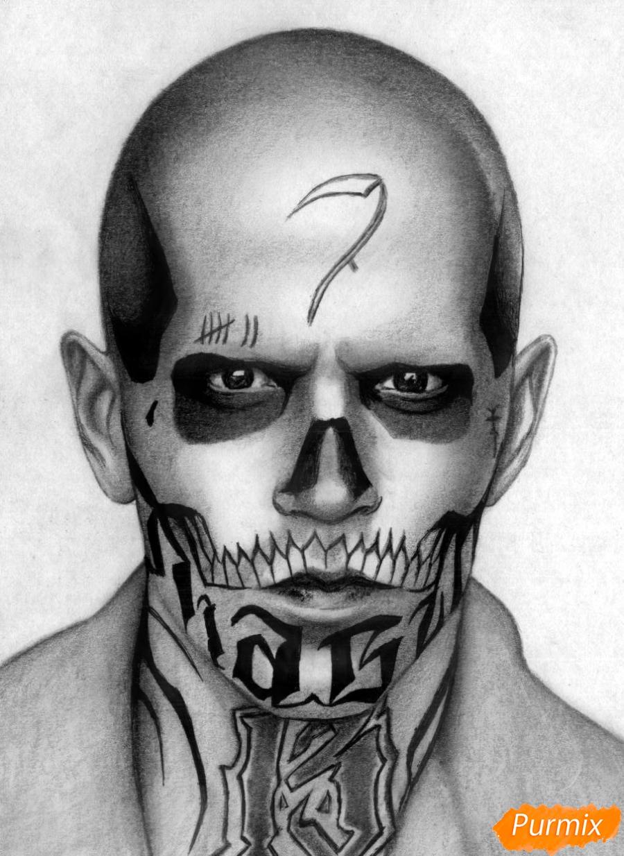 Как нарисовать Эль Диабло из фильма Отряд самоубийц карандашом и ручкой поэтапно
