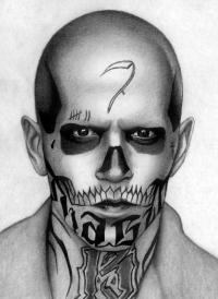Как нарисовать Эль Диабло из Отряд самоубийц карандашом поэтапно