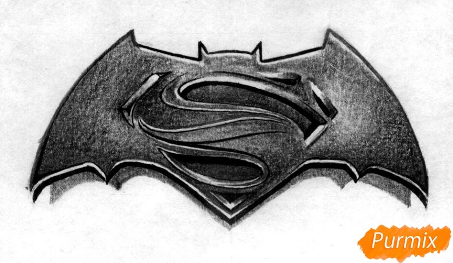 Рисуем логотип фильма Бэтмен против Супермена - шаг 3