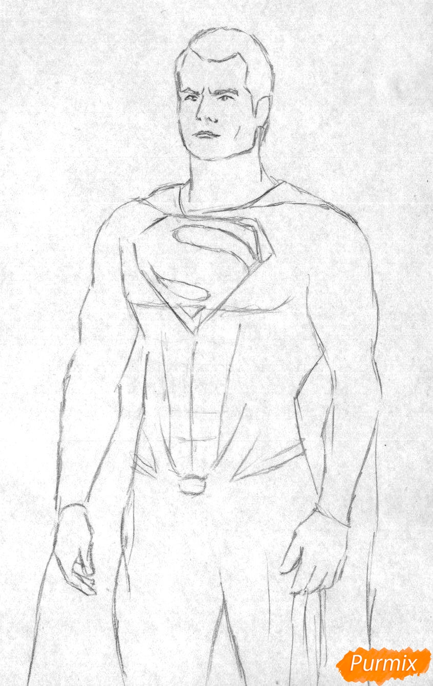 Рисуем Супермена в полный рост из фильма Бэтмен против Супермена - шаг 1