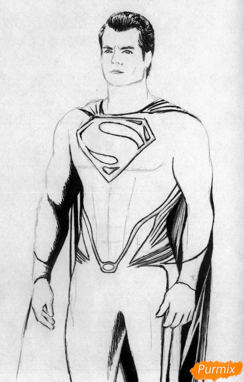 Рисуем Супермена в полный рост из фильма Бэтмен против Супермена - шаг 2