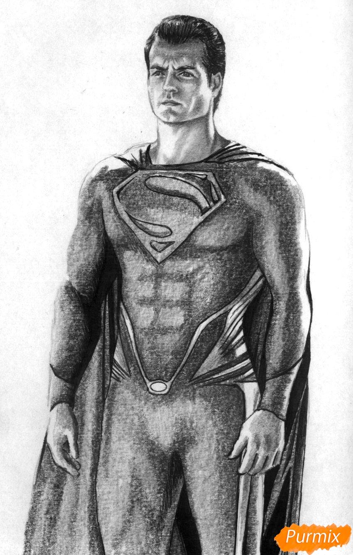 Рисуем Супермена в полный рост из фильма Бэтмен против Супермена - шаг 4