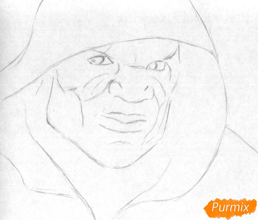 Как нарисовать Убийцу Крока из фильма Отряд самоубийц карандашом и ручкой поэтапно - шаг 1