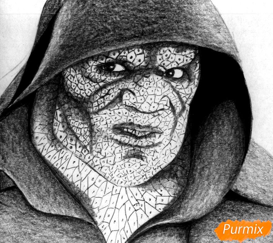 Как нарисовать Убийцу Крока из фильма Отряд самоубийц карандашом и ручкой поэтапно - шаг 3
