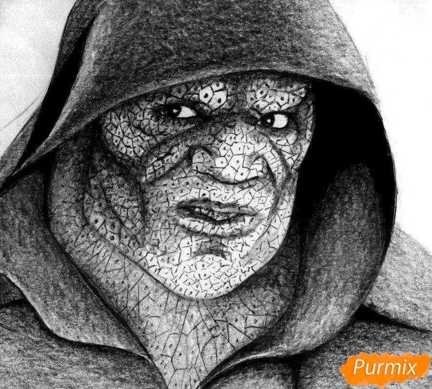 Как нарисовать Убийцу Крока из фильма Отряд самоубийц карандашом и ручкой поэтапно - шаг 4