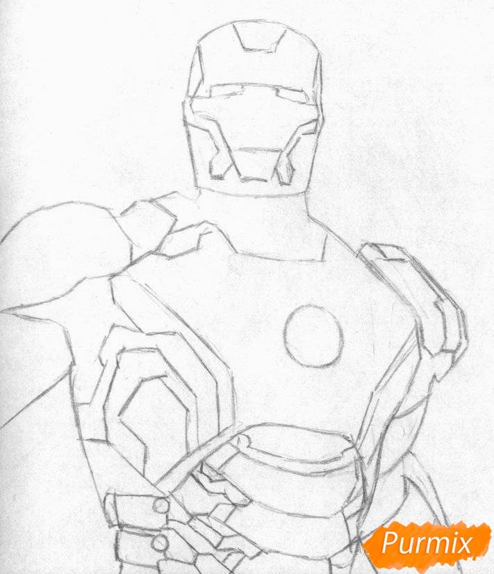 Рисуем железного человека  и ручкой - шаг 1