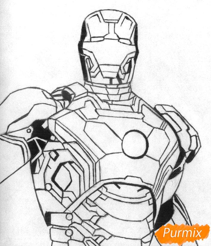 Рисуем железного человека  и ручкой - шаг 2
