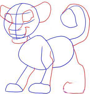 Рисуем Симбу из Король Лев - шаг 2