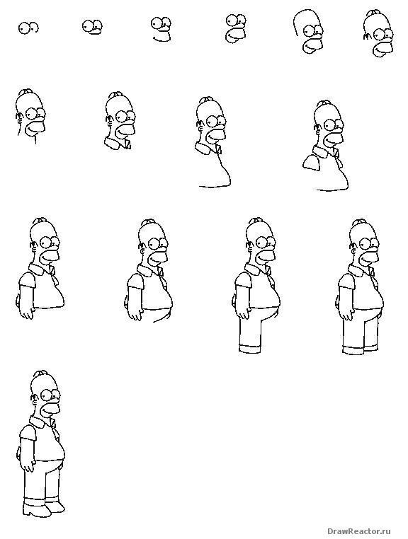 Как рисовать гомера симпсона поэтапно одного