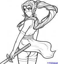 Фото  женщину-ниндзя  карандашом