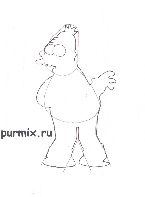 Как нарисовать Абрахама Симпсона карандашом на бумаге поэтапно