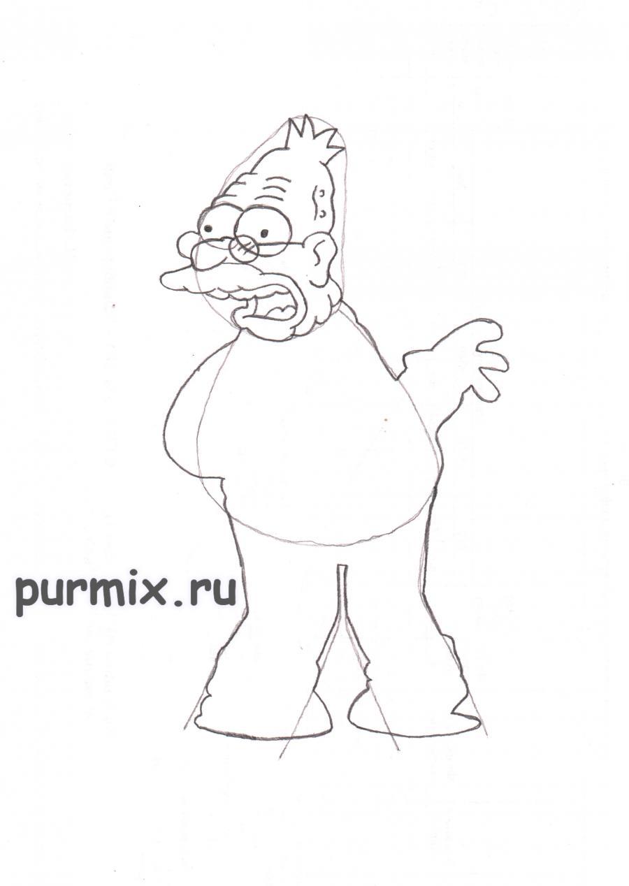 Рисуем Абрахама Симпсона  на бумаге