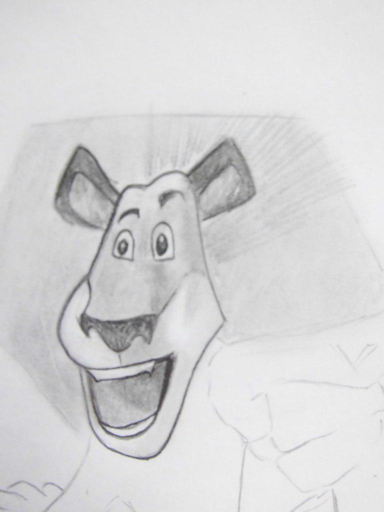 Как нарисовать Алекса из мультфильма Мадагаскар карандашом