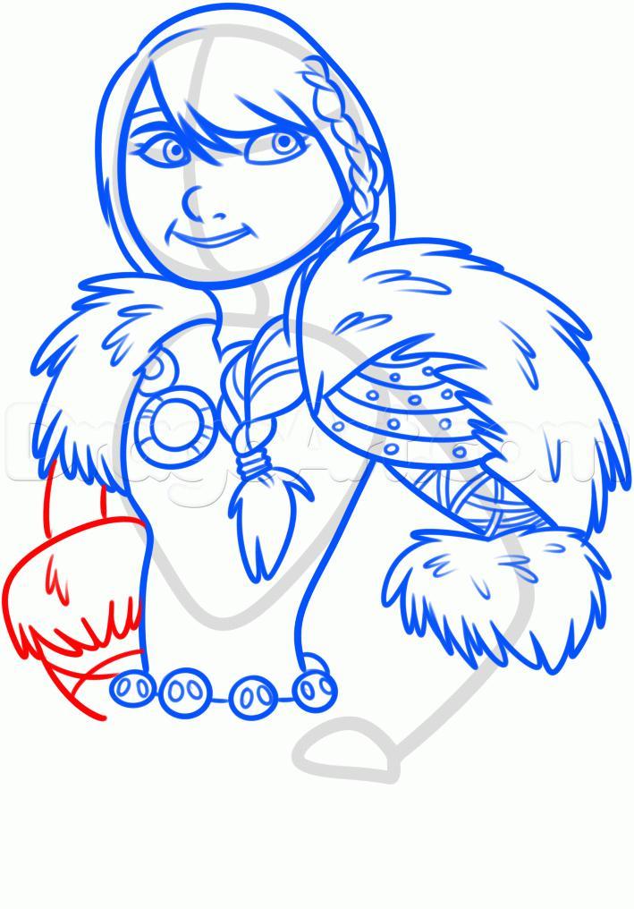 Как нарисовать Астрид из Как приручить дракона 2 карандашом поэтапно