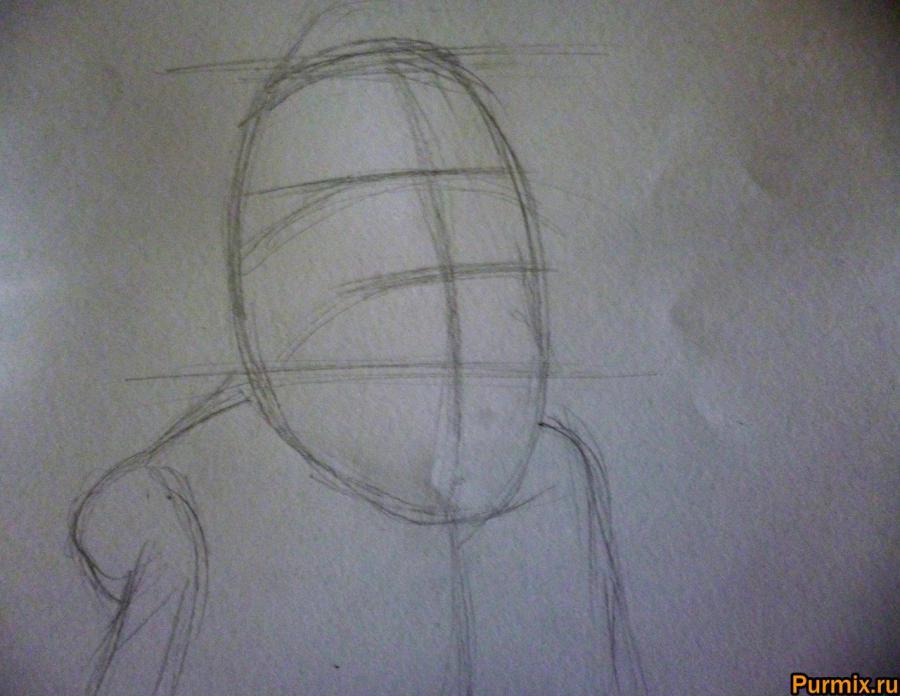 Как нарисовать Баркиса Биттерна из Труп невесты поэтапно - шаг 1