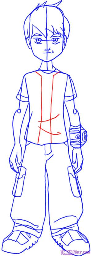 Как нарисовать Бена из мультфильма Бен 10 карандашом