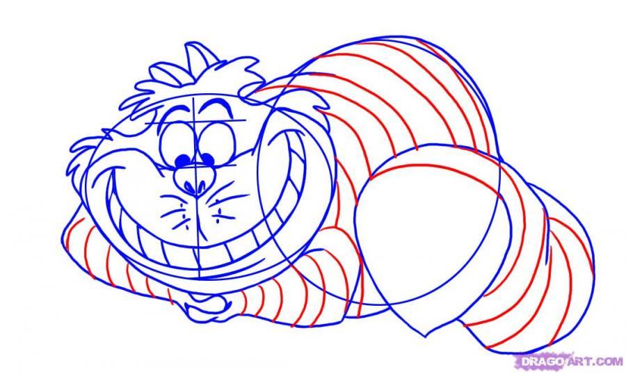 Рисуем Чеширского кота из Алиса в стране Чудес
