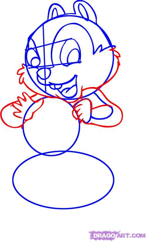 Как нарисовать Чипа из мультфильма Чип и Дейл спешат на помощь поэтапно