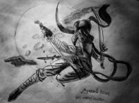 девушку ниндзя в прыжке карандашом