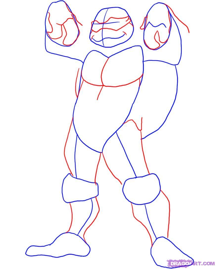 Как нарисовать Донателло из Черепашек-Ниндзя карандашом поэтапно