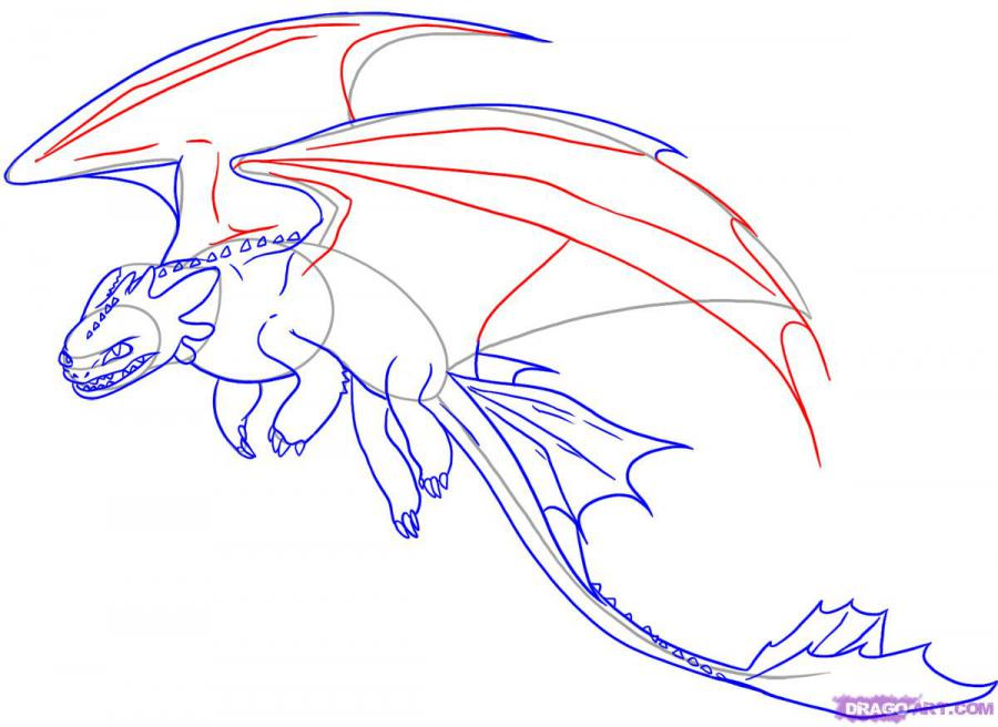 Рисуем дракона Беззубика из Как приручить дракона
