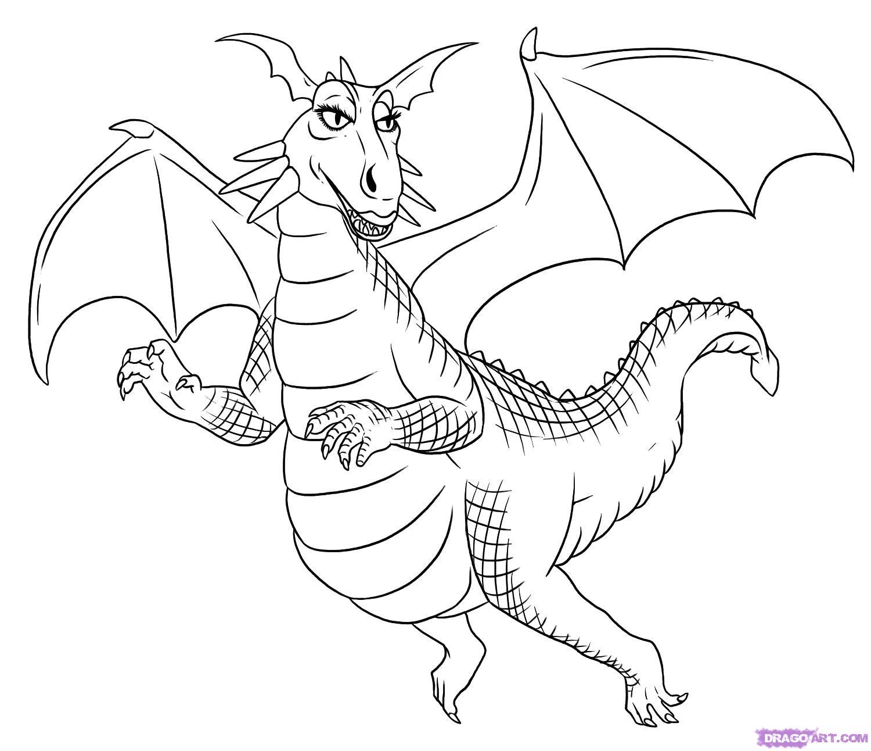 Как нарисовать Дракона из мульт-ма Шрек карандашом поэтапно