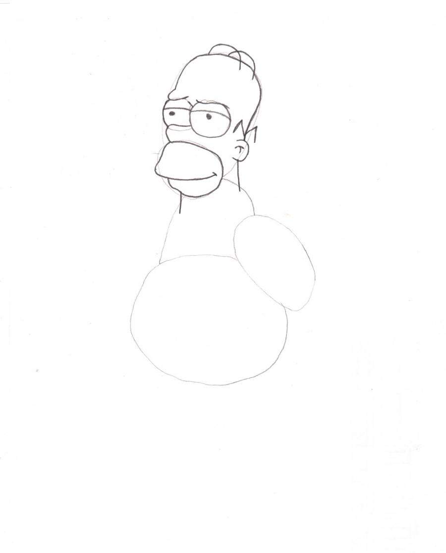 Как нарисовать гомера из симпсонов карандашом поэтапно