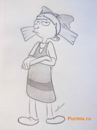 Фото Хельгу из мультсериала Эй, Арнольд карандашом