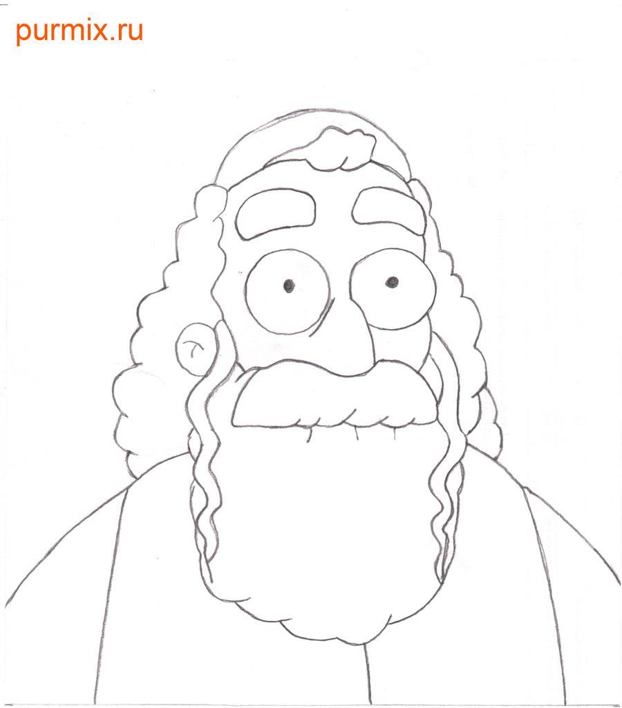 Рисуем Хймана Крастофски из Симпсонов
