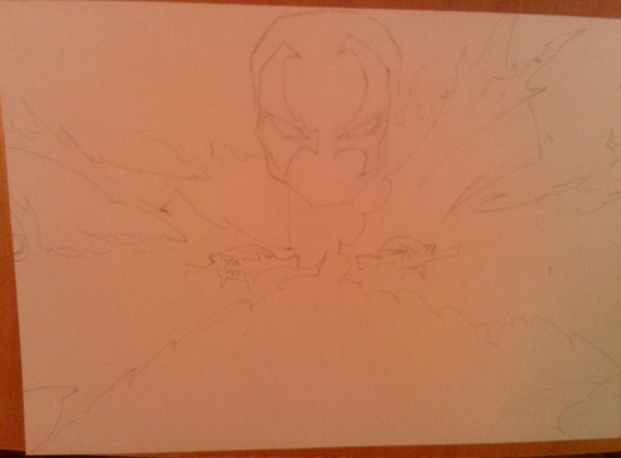 Как нарисовать и раскрасить Спауна поэтапно - шаг 3