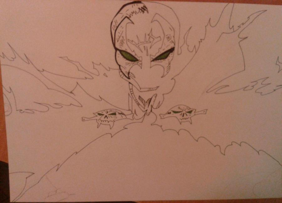 Как нарисовать и раскрасить Спауна поэтапно - шаг 5