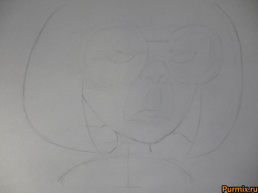 Как нарисовать Эдну Мод из Суперсемейки простым карандашом - шаг 3