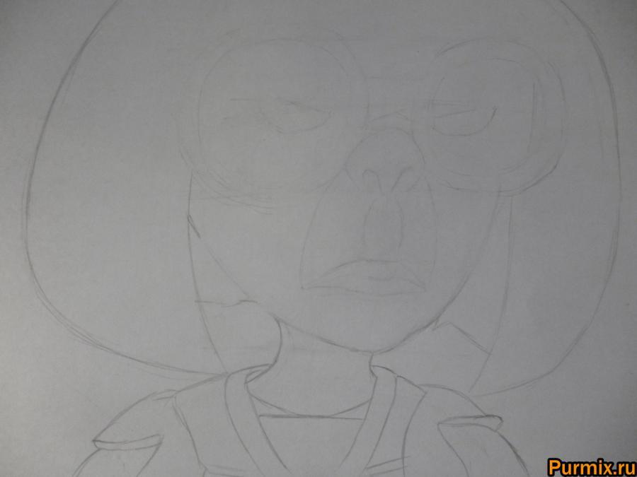 Как нарисовать Эдну Мод из Суперсемейки простым карандашом - шаг 4