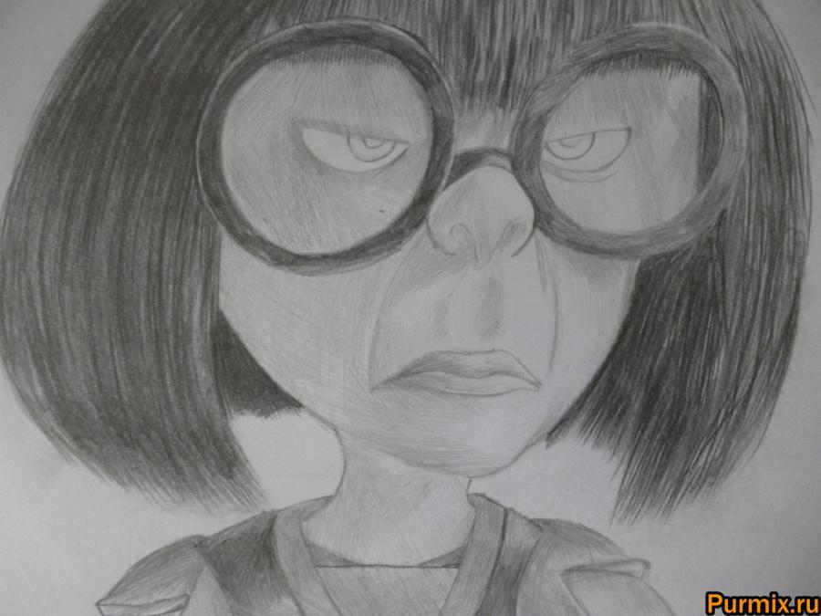 Как нарисовать Эдну Мод из Суперсемейки простым карандашом - шаг 9