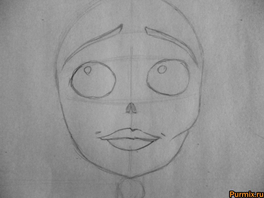 Как нарисовать Эмили из Труп невесты карандашами поэтапно - шаг 2