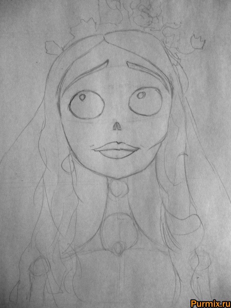 Как нарисовать Эмили из Труп невесты карандашами поэтапно - шаг 3