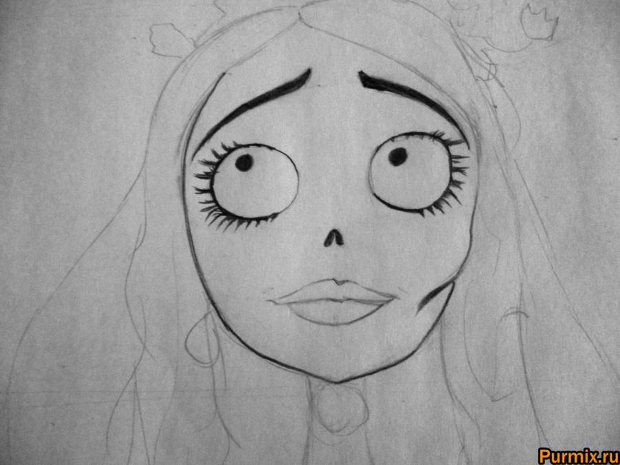 Как нарисовать Эмили из Труп невесты карандашами поэтапно - шаг 4